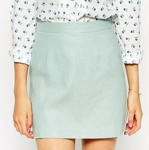 b350b5a23eef ASOS Skirts | Linen Mini Skirt In Mint Green | Poshmark